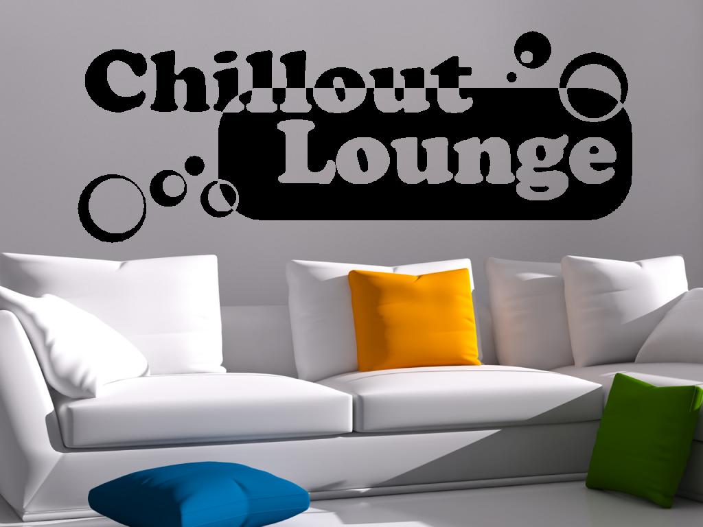 wandtattoo chillout lounge wohnzimmer schlafzimmer k che tocut werbetechnik wandtattoo. Black Bedroom Furniture Sets. Home Design Ideas