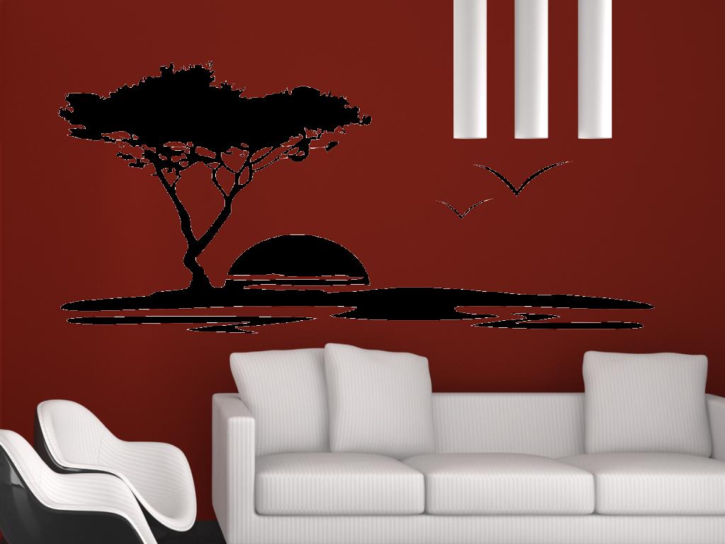 wandtattoo baum landschaft tocut werbetechnik wandtattoo beschriftung. Black Bedroom Furniture Sets. Home Design Ideas
