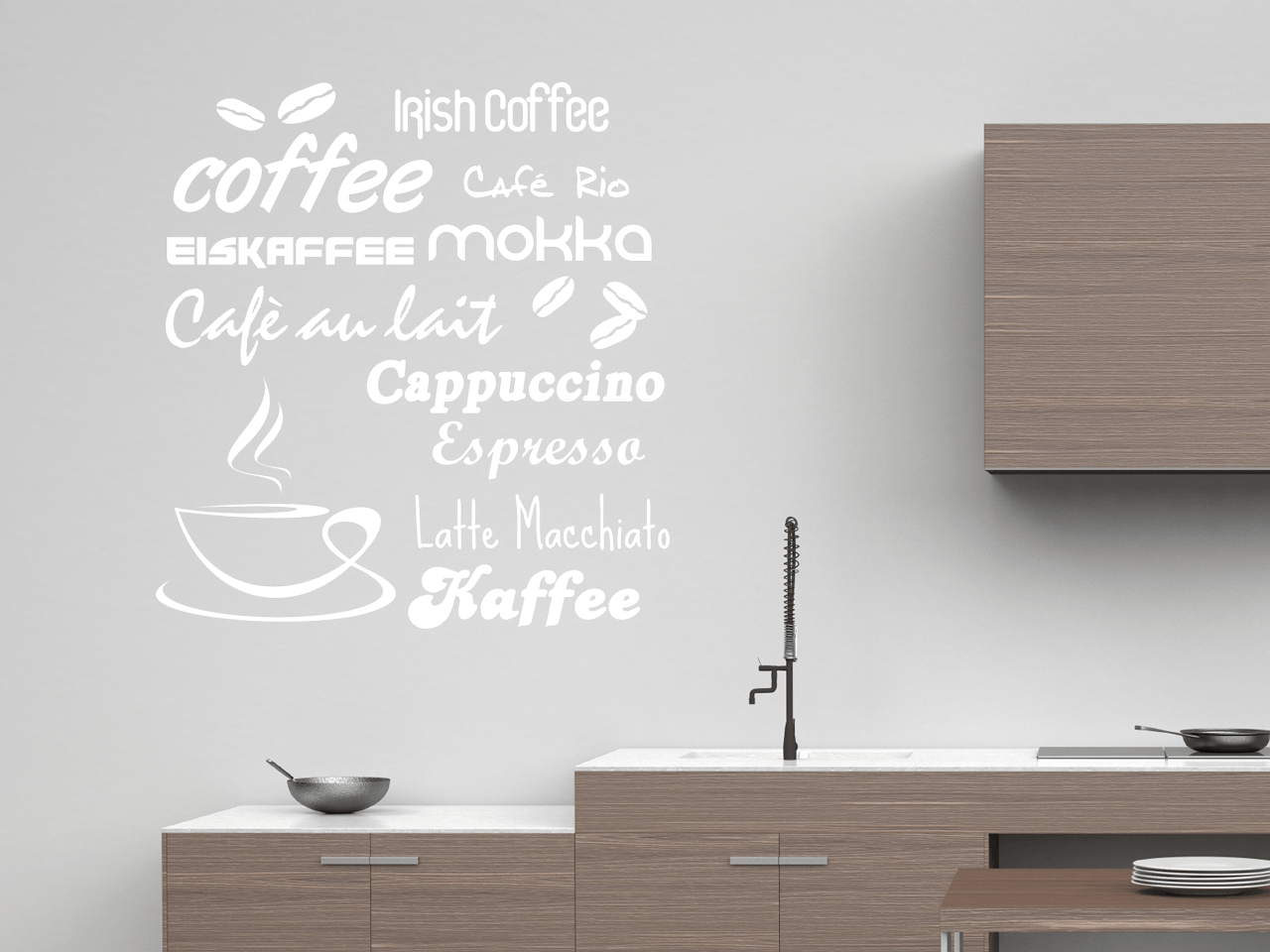 wandtattoo k che latte macchiato k che grau wei hochglanz holzregal ikea installationsplan. Black Bedroom Furniture Sets. Home Design Ideas