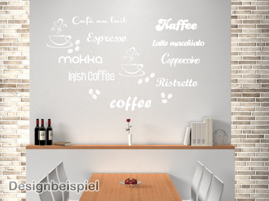 Wandtattoo Kaffee Namen Set Küche | ToCut Werbetechnik Wandtattoo ...