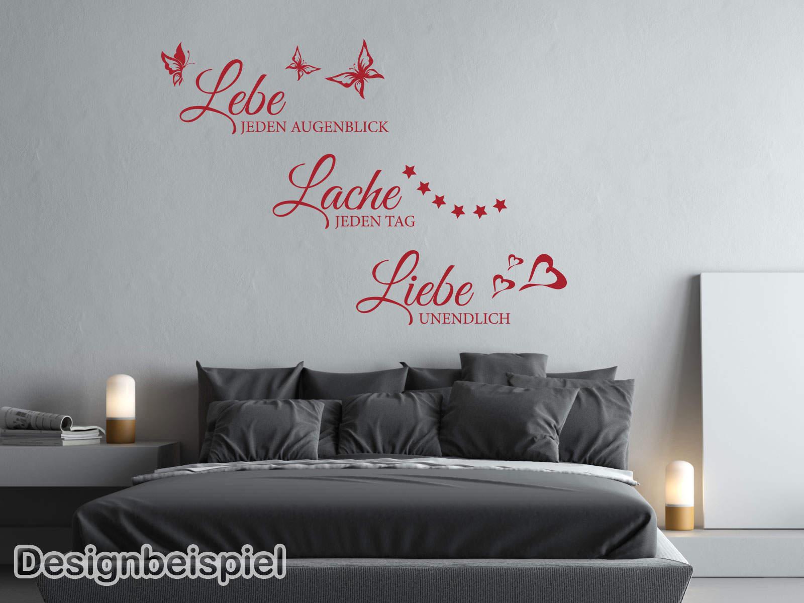 wandtattoo lebe lache liebe tocut werbetechnik wandtattoo beschriftung. Black Bedroom Furniture Sets. Home Design Ideas