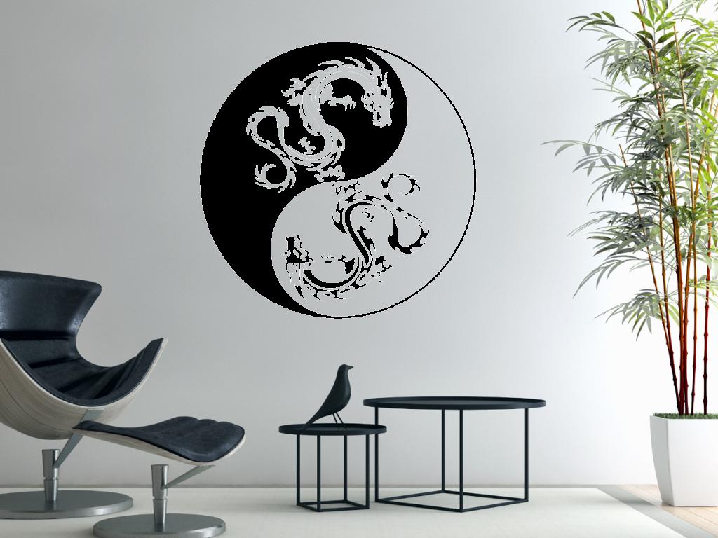 wandtattoo yin yang drachen tocut werbetechnik wandtattoo beschriftung. Black Bedroom Furniture Sets. Home Design Ideas
