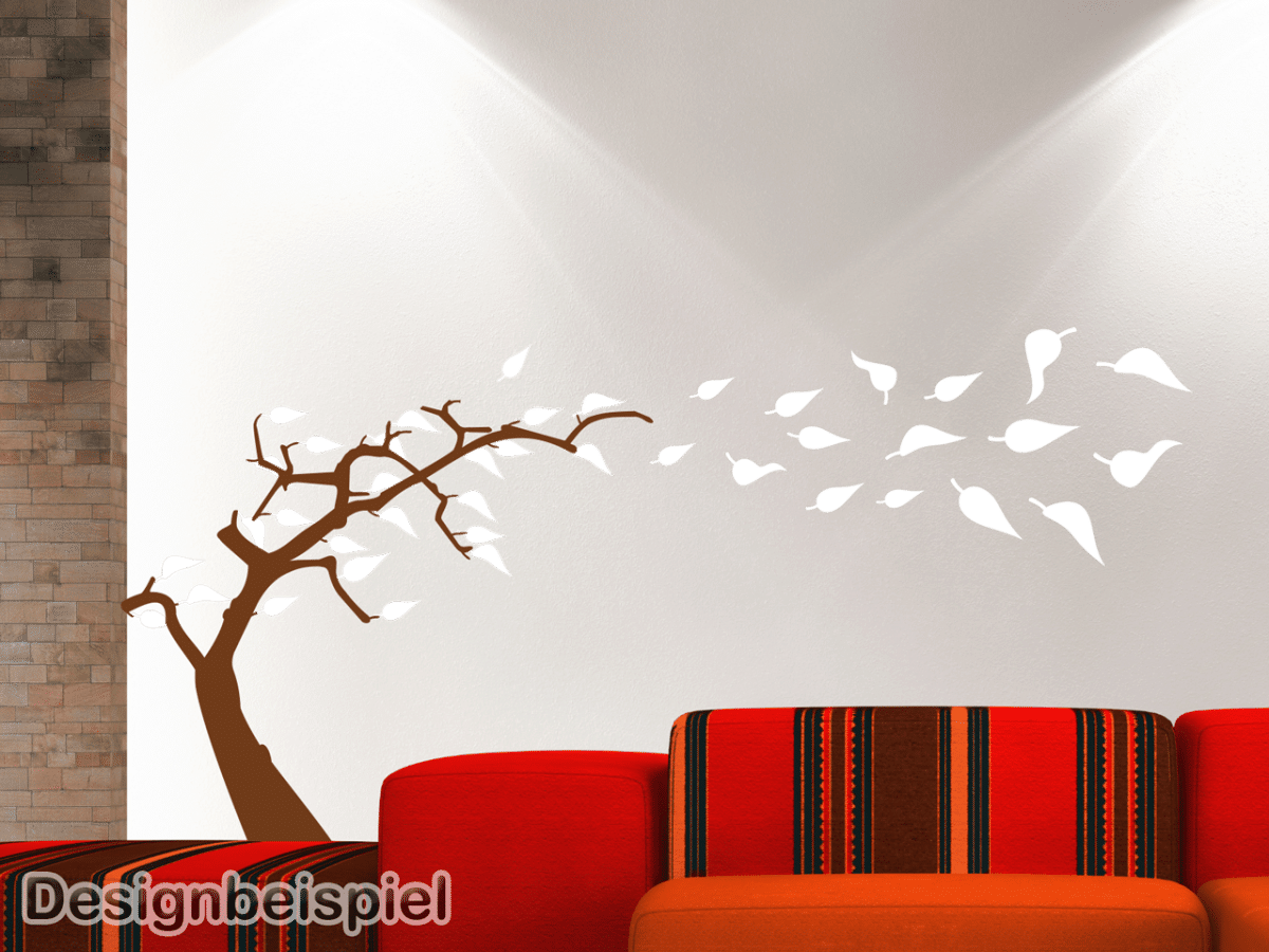 wandtattoo baum im wind zweifarbig tocut werbetechnik. Black Bedroom Furniture Sets. Home Design Ideas