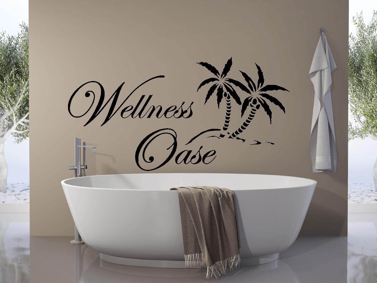Wandtattoo wellness oase mit palme badezimmer entspannung bad ebay - Wandtattoo wellness ...