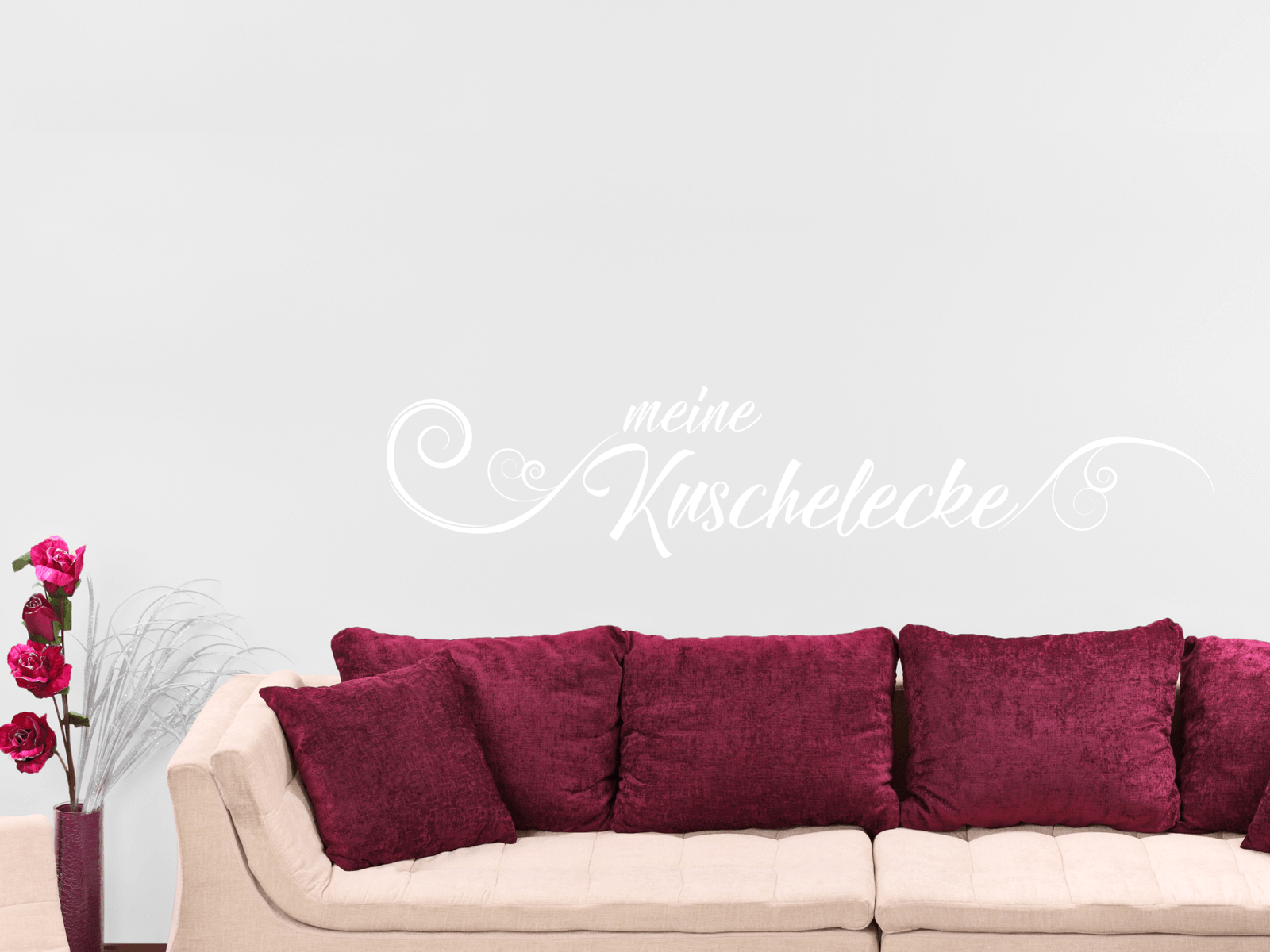 wandtattoo meine kuschelecke schriftzug wohnzimmer schlafzimmer tocut werbetechnik. Black Bedroom Furniture Sets. Home Design Ideas