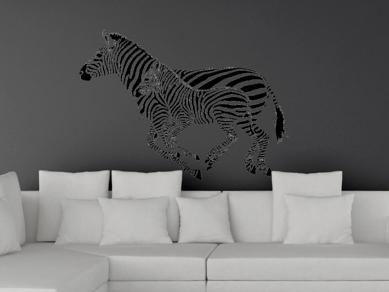 Wandtattoo Zebra Mutter und Fohlen im galopp | ToCut Werbetechnik ...