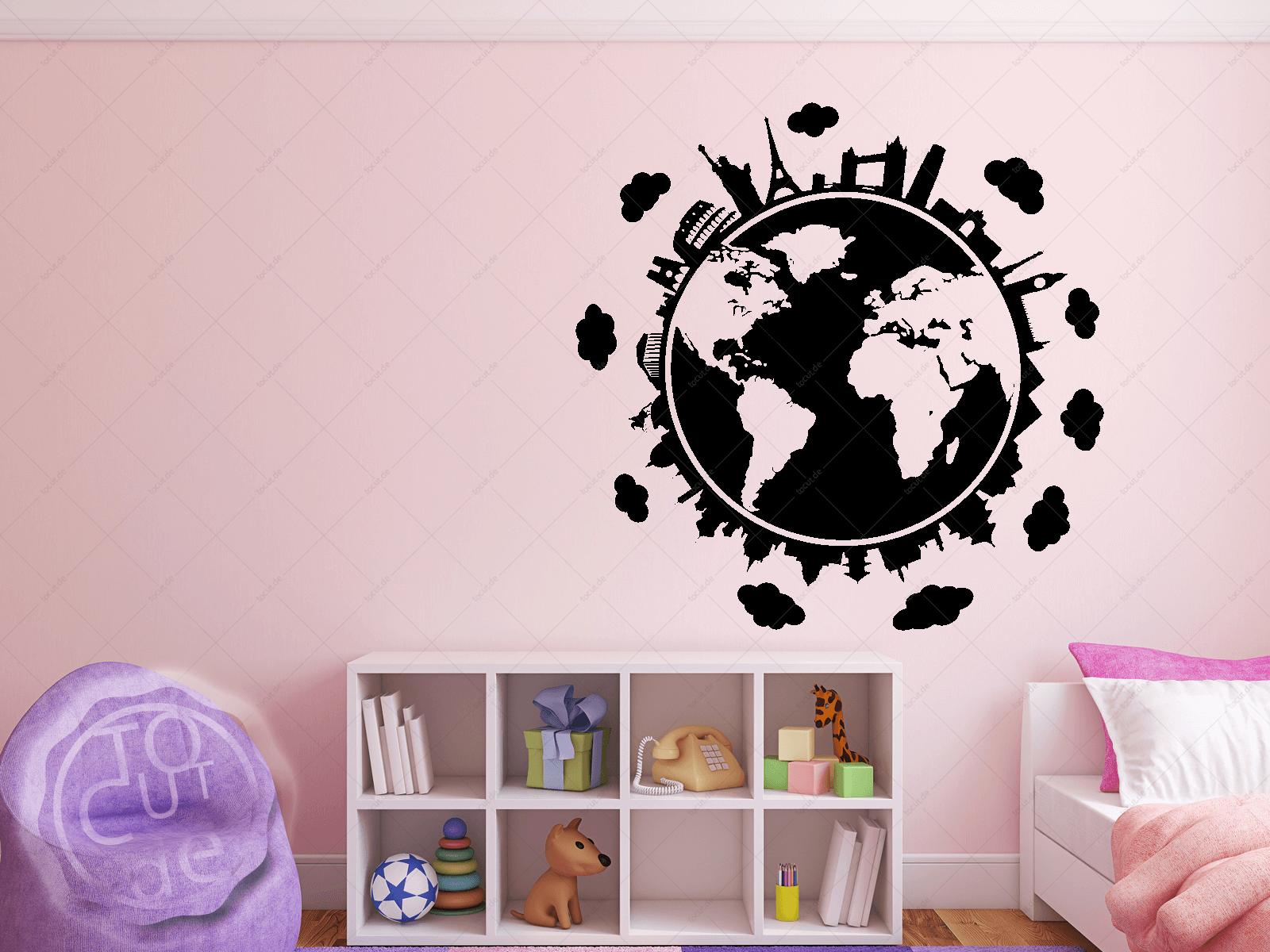 Wandtattoo Weltkugel Skylines Wohnzimmer Schlafzimmer Küche Wandaufkleber  eBay